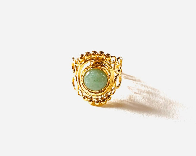 INDIA ring with open volutes, aventurine - Intuitu Paris