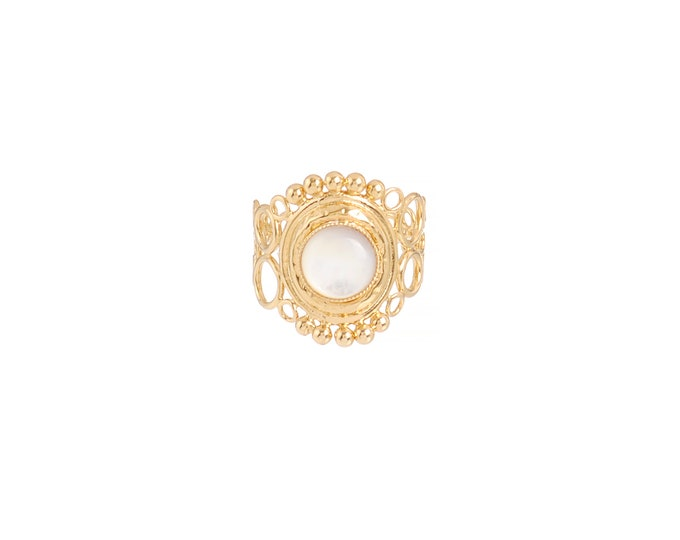 INDIA ring with openwork scrolls, mother of pearl - Intuitu Paris