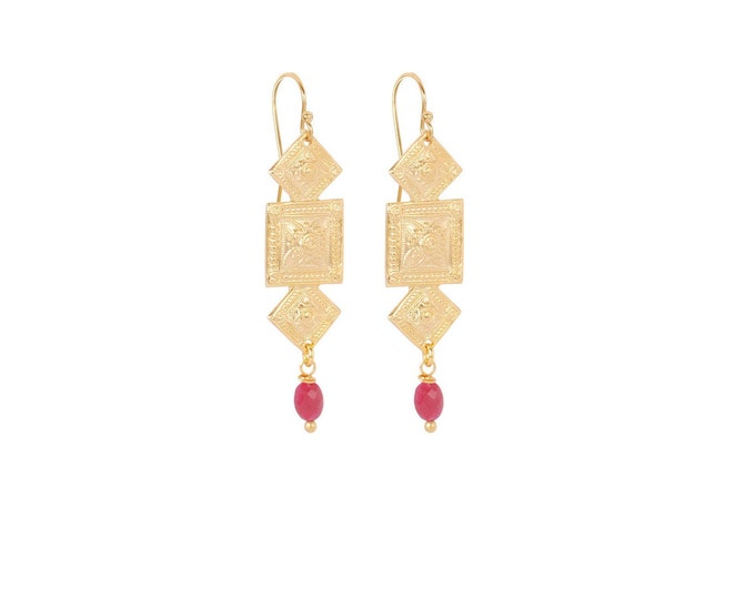 Antique geometric gold earrings with a ruby drop