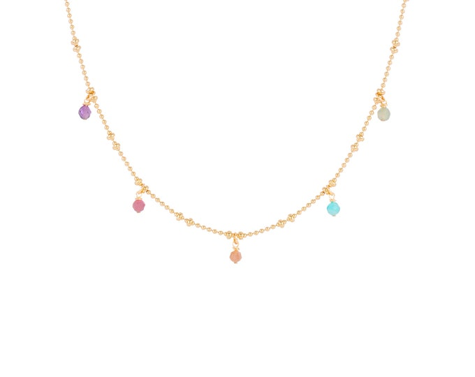Necklace gilded with fine gold in ball chain with 5 multicoloured stone pendants