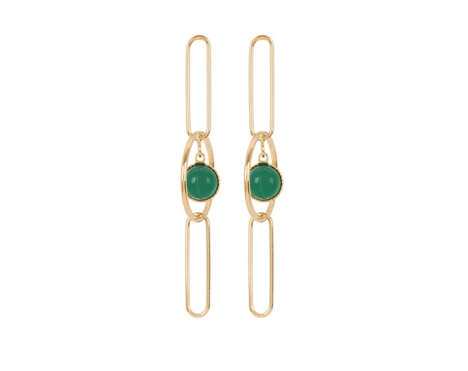 EMMA pendant golden earrings: rings, rectangles and cabochons in green agate - Intuitu Paris