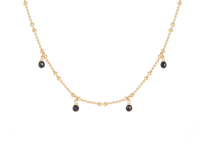 Necklace gilded with fine gold in ball chain with 4 black agate pearls