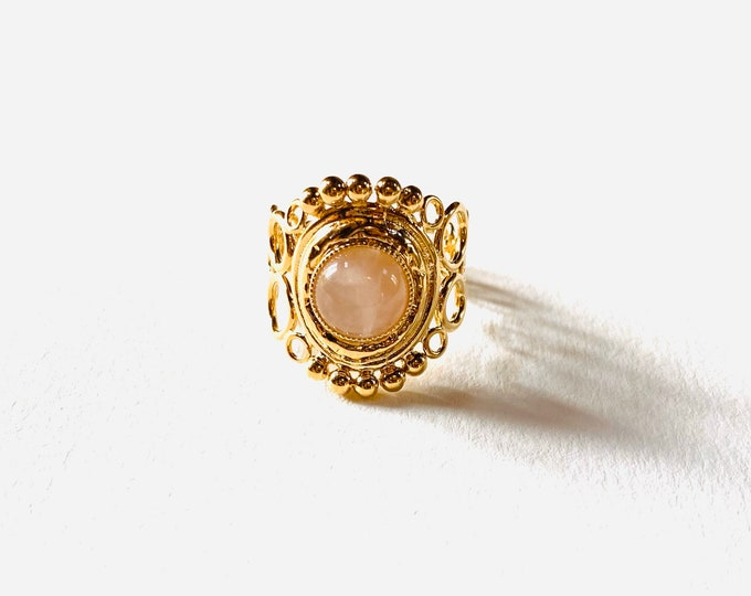 INDIA ring with open volutes, pink quartz - Intuitu Paris