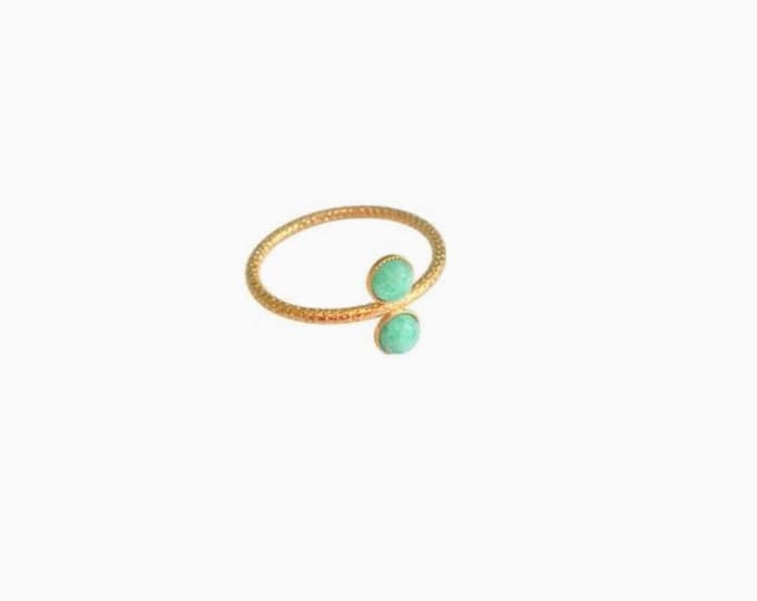 Ariane golden ring with 2 cabochons in amazonite (blue) - Intuitu Paris