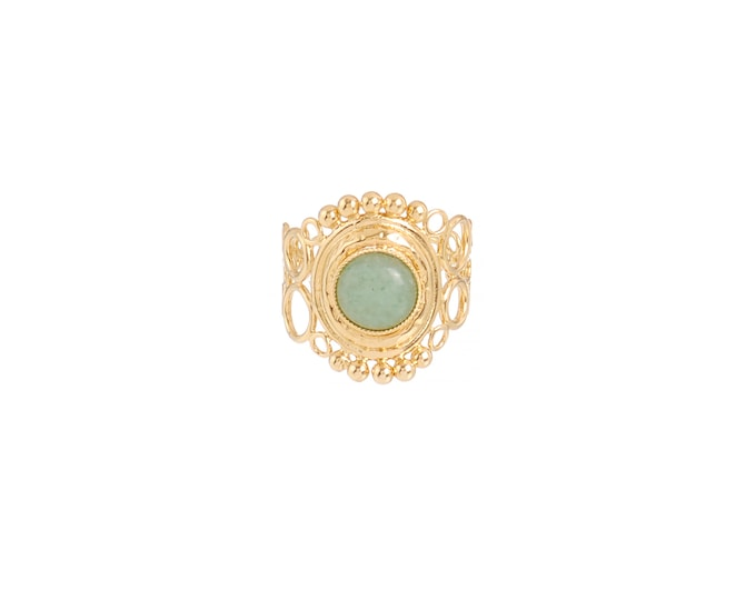 INDIA ring with openwork scrolls, aventurine - Intuitu Paris