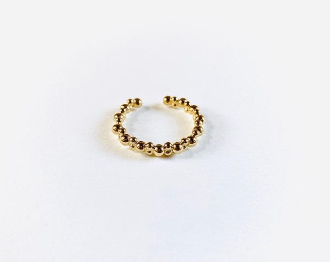 Fine gold hammered ball ELVINA ring - Intuitu Paris