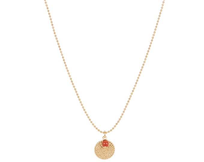 all chain necklace with medal pendants and red jasper pearl - by Intuitu Paris