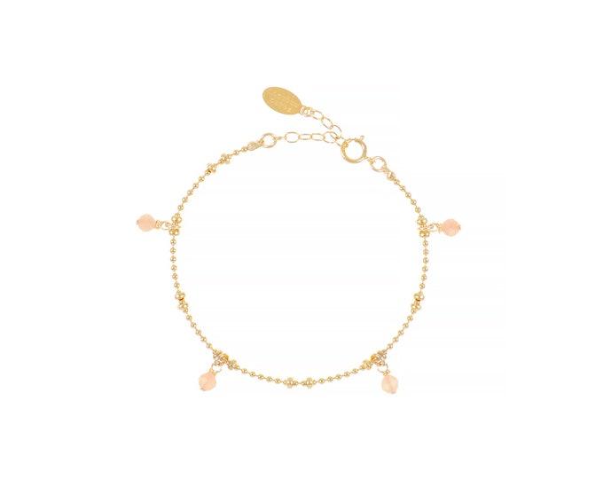 Gilded bracelet with fine gold in ball mesh with 4 orange moonstone pendants