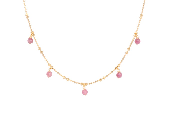 Necklace gilded with fine gold in ball chain with 5 pink tourmaline pearls