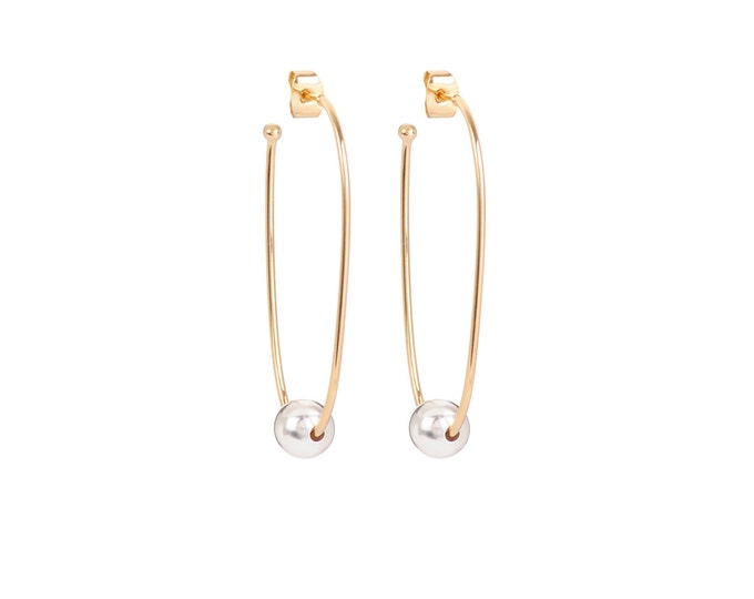 Long golden JULIETTE earrings with a silvered ball