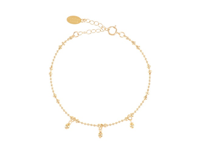 Gilded bracelet with fine gold in ball chain with 3 golden pearls
