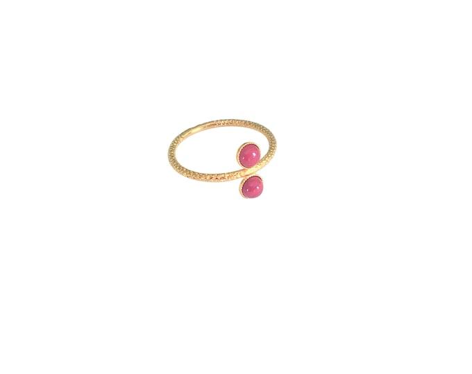 Ariane gold ring with 2 cabochons in red jasper - Intuitu Paris