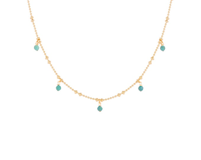 Necklace gilded with fine gold in ball chain with 5 chrysocolla stones