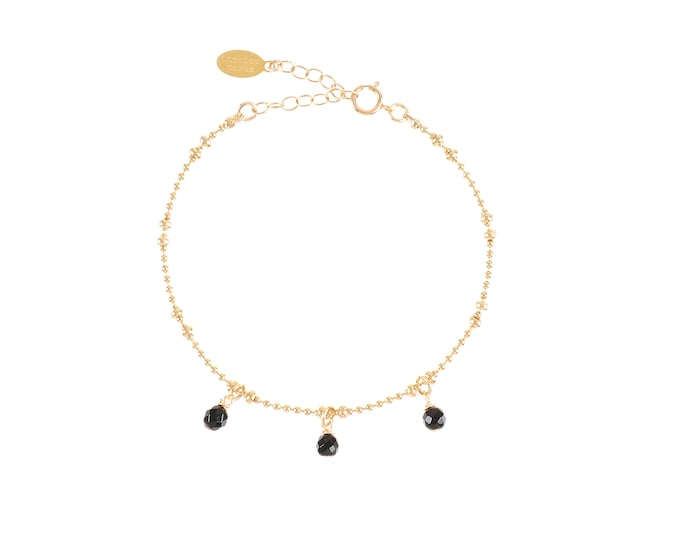 Gilded bracelet with fine gold in ball mesh with 3 black agate stone pendants