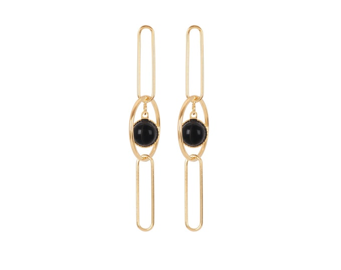 Golden EMMA earrings dpending rings and rectangles and cabochons in black agate