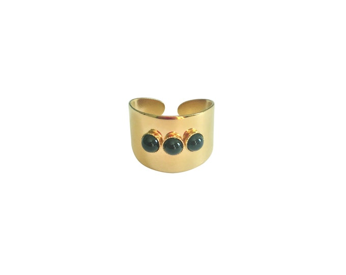 3 cabochons golden ring - Intuitu Paris