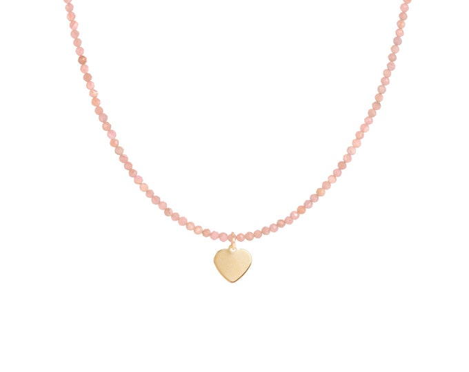 Rhodochrosite beaded necklace with heart pendant
