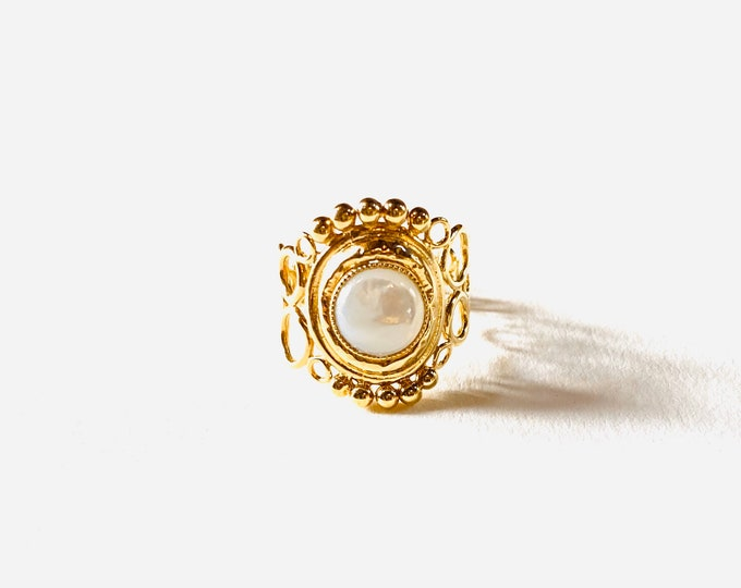 INDIA ring with open scrolls, mother-of-pearl - Intuitu Paris