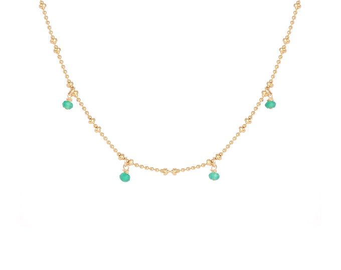 Necklace gilded with fine gold in ball chain with 4 green onyx pearls
