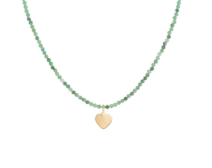 Green Japser beaded necklace with heart pendant