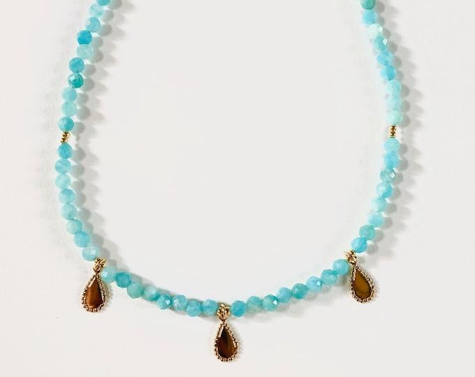 INDIRA amazonite choker necklace with gold tassels - Intuitu Paris