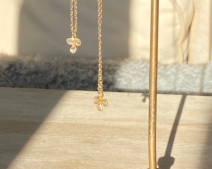 Gold plated choker necklace with rough diamond slice flower pendant
