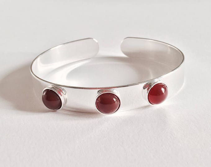 Bangle silver cabochons carnelian - a Paris jewelry
