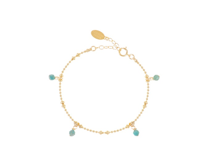 Gilded bracelet with fine gold in ball mesh with 4 chrysocolle pendants