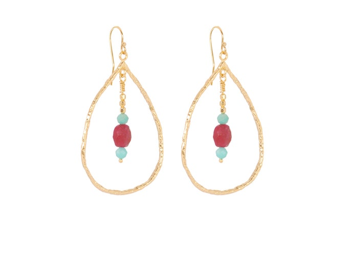 Earrings with hammered drops and natural stones in blue and ruby red