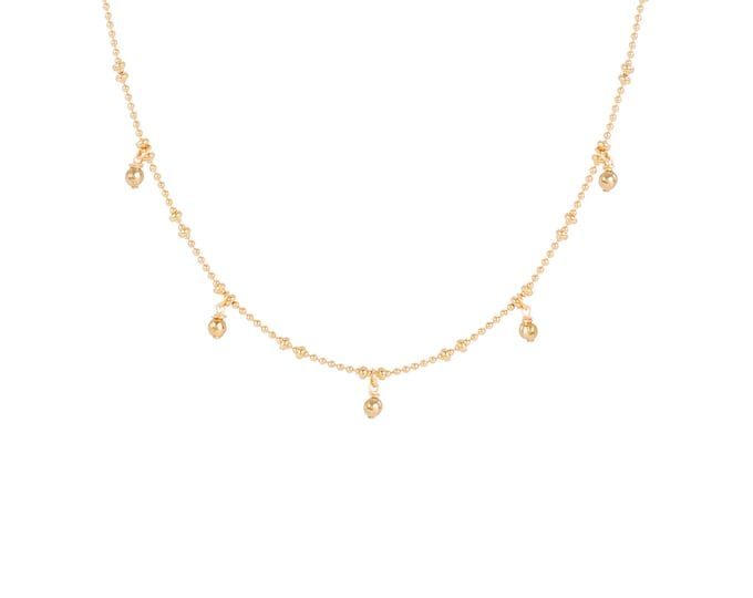 Necklace gilded with fine gold in ball chain with 5 golden pearls