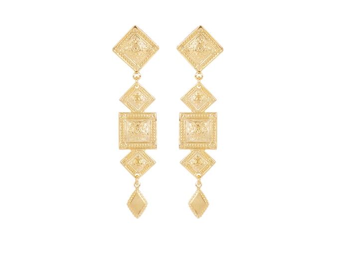 Maxi antique geometric gold earrings