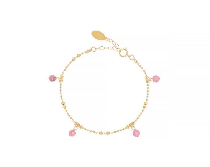 Gilded bracelet with fine gold in ball mesh with 4 pink tourmaline stone pendants