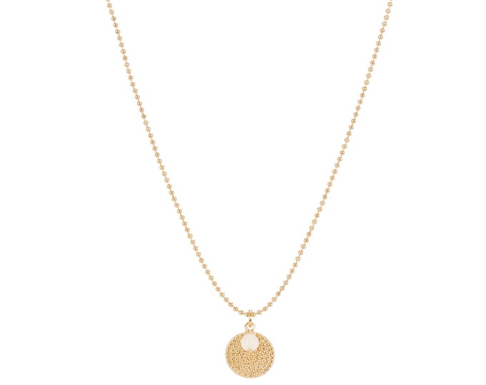 Ball chain necklace with medal pendants and mother of pearl beads - Intuitu Paris