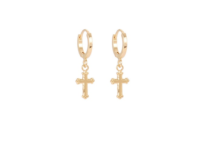 Mini golden cross hoops - Intuitu Paris