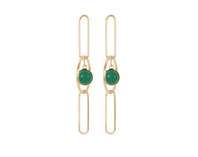 EMMA pendant golden earrings: rings, rectangles and cabochons in green agate - Intuitu Paris