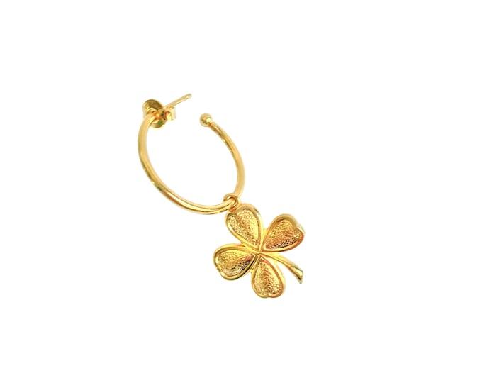 Mono earring - clover hoop earring - Intuitu Paris