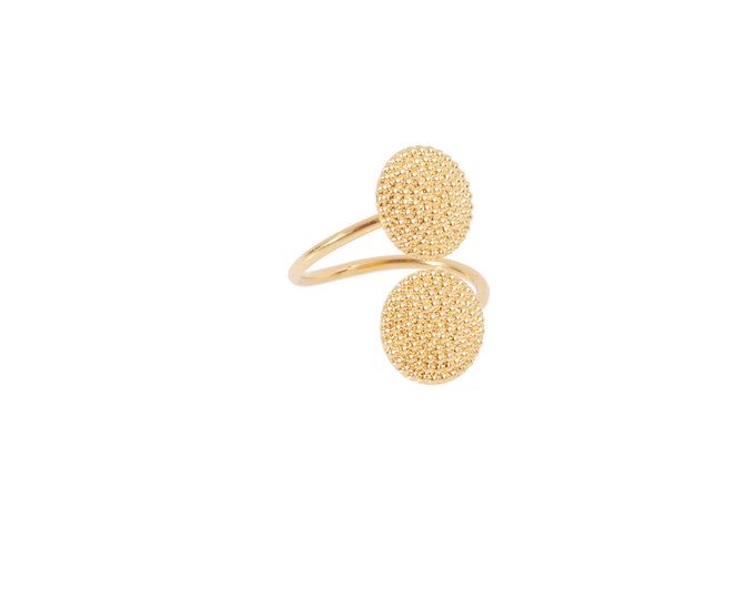 Thin golden double ring with round medals - By Intuitu Paris