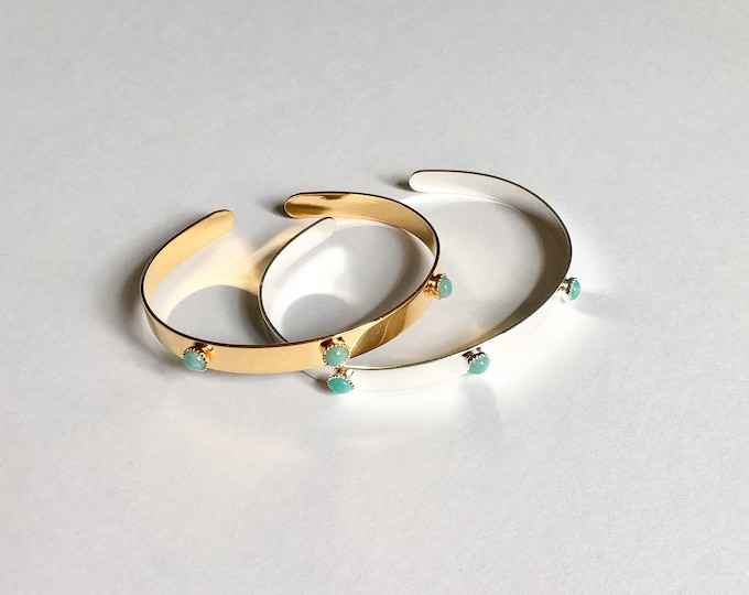 Gold or silver thin Bangle with 3 mini Blue Green cabochons (amazonite) - a Paris