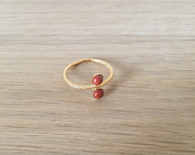 Ariane golden ring with 2 cabochons in red jasper - Intuitu Paris