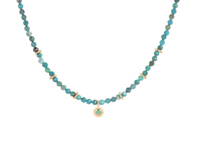 INDIA necklace in blue chrysocolle and golden rings