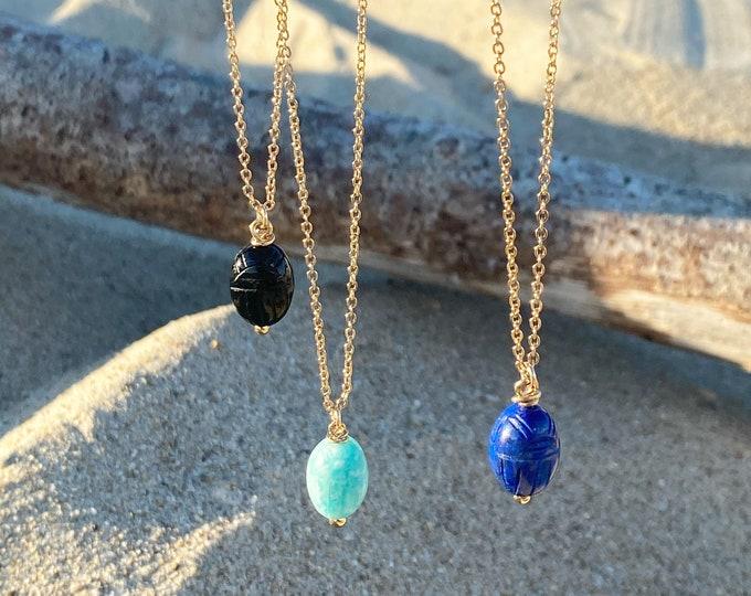 "Gri gri Necklace : hard stone scarab pendant on chain , number ""7"" on the clasp - Bijoux Intuitu Paris"
