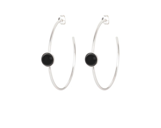Large silver creoles with black agate cabochon