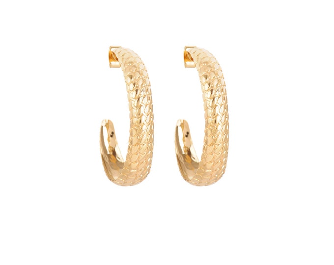 Snake skin hoop earrings - Intuitu Paris