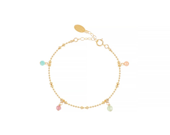 Gilded bracelet with fine gold in ball mesh with 4 multicoloured stone pendants