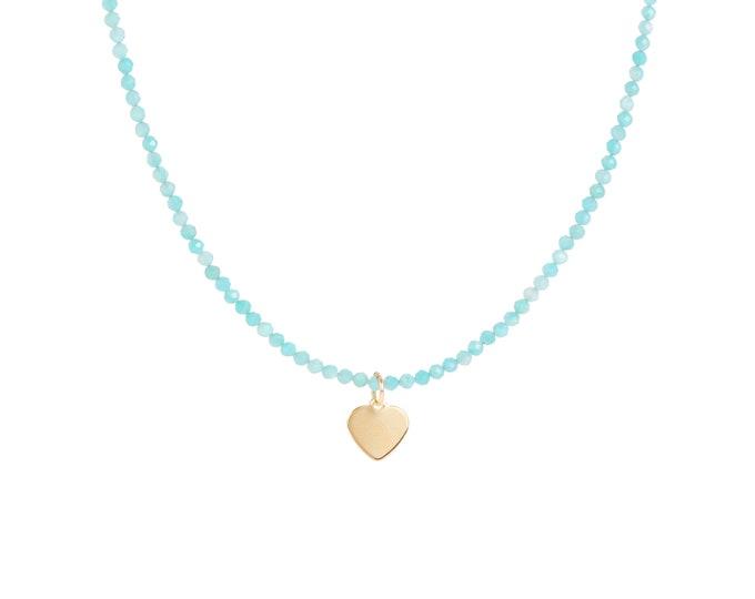Amazonite beaded necklace with heart pendant