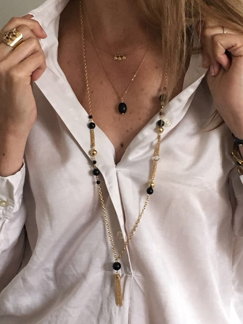 Stone necklaces chains and thin gilt end: onyx personal jewelry Paris blue agate Pink rhodonite azurite