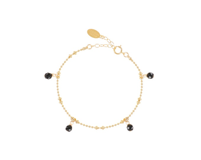 Gilded bracelet with fine gold in ball mesh with 4 black agate stone pendants