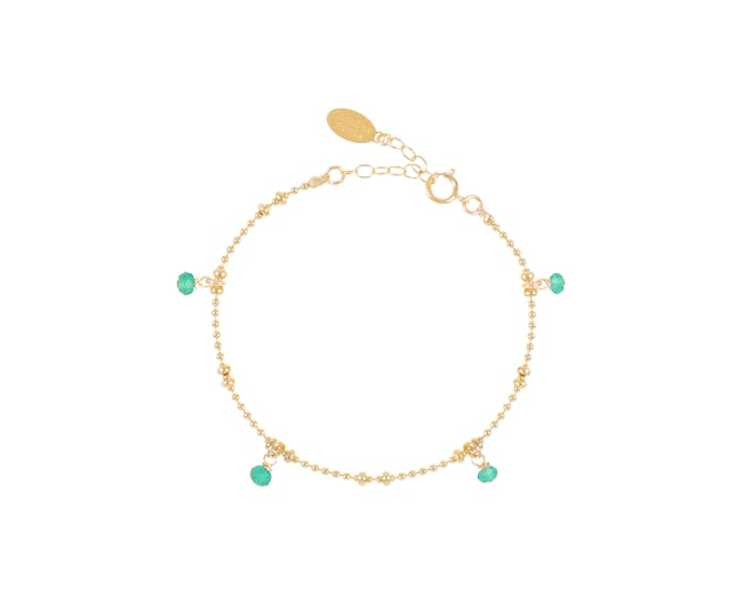 Gilded bracelet with fine gold in ball chain with 4 green onyx pearls
