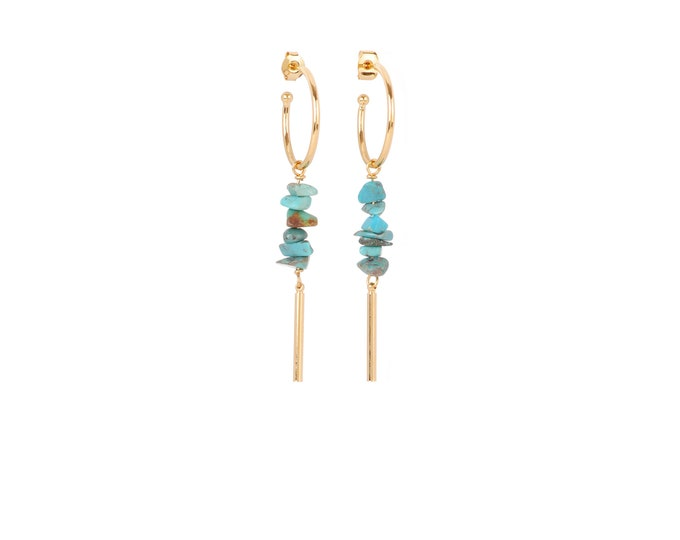 Hoop earrings with gold tube and turquoise coloured stones