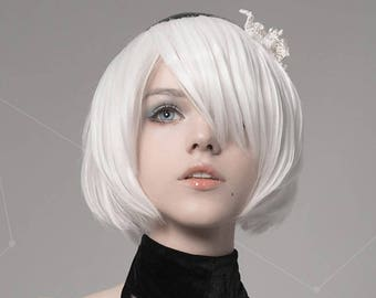 White Nier  Automata cosplay wig 2B white hair short cc06efbc8d91